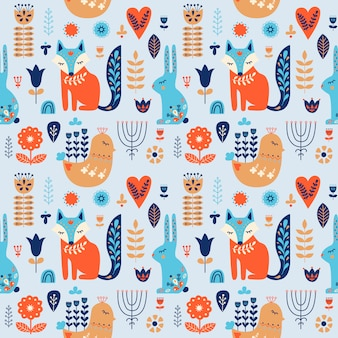Folk art seamless pattern