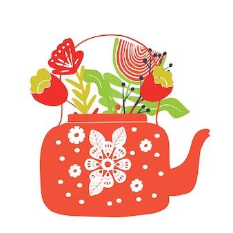 Folk art tea pot with flower block print vector illustration