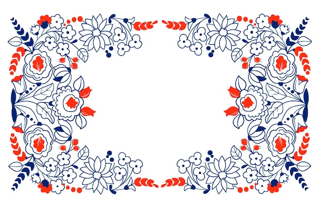 民芸ベクトルフレーム、かわいい花のボーダー、グリーティングカード。ベクトルイラスト