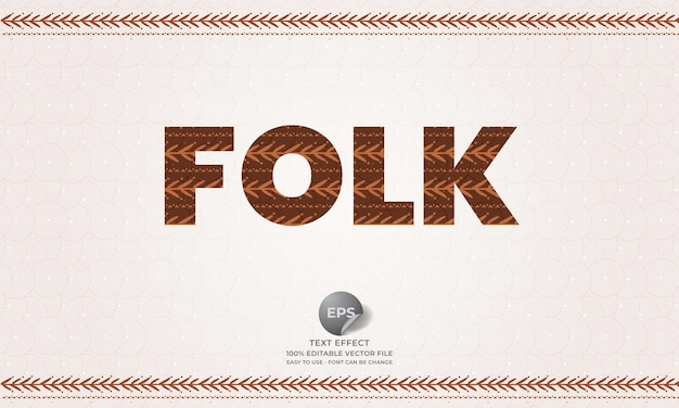 Folk editable text effect with boho style pattern and texture