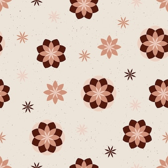 Народные цветочные бесшовные модели boho цветы векторные иллюстрации с абстрактными формами