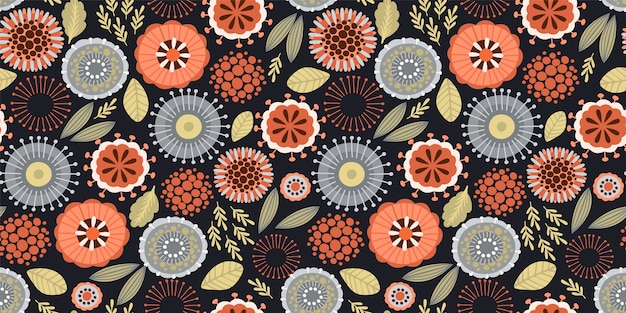 Folk floral seamless pattern. modern abstract design