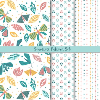 Folk floral seamless pattern set
