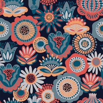 Folk floral seamless pattern