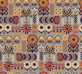 Folk floral seamless pattern