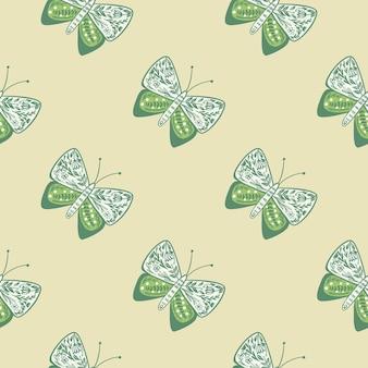 식물원 나비와 민속 스타일 완벽 한 패턴
