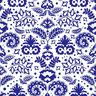 Folk tatar blue ornament seamless pattern  illustration