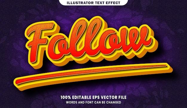 Follow 3d editable text style effect