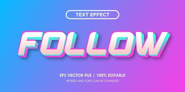 편집 가능한 홀로그램 텍스트 효과 따르기