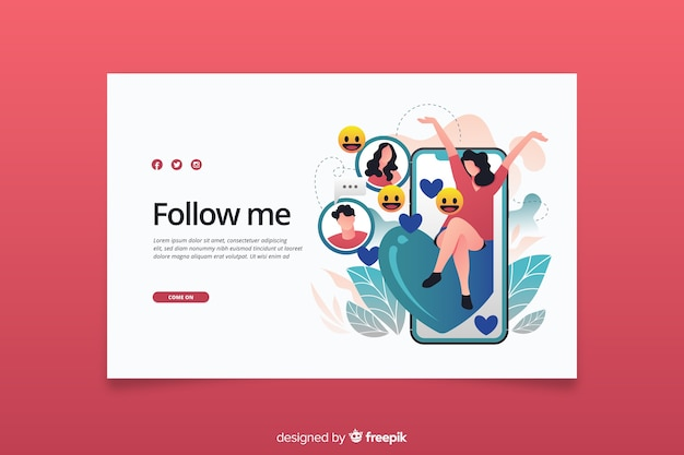 Follow me influencer concept landing page