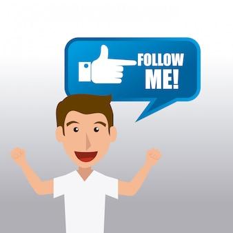Следуй за мной дизайн социальной и бизнес темы