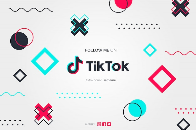 Follow me on tiktok background in memphis design style