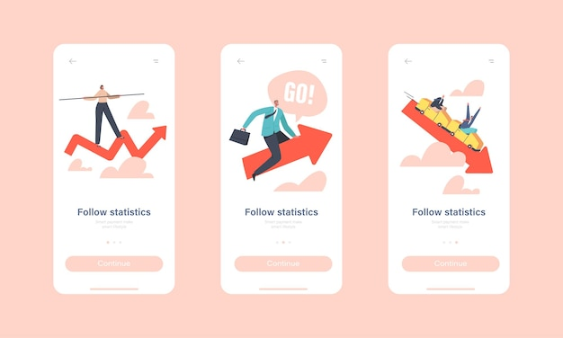 Follow statistics mobile app page onboard screen template. tiny businesspeople characters riding up and down red arrow