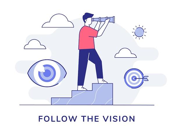 はしごの上に立っているビジョンキャラクターの男性は、アウトラインスタイルでダーツ眼球の周りに望遠鏡を使用してください