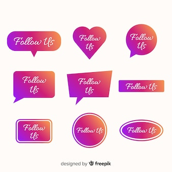 Follow us bubble speech collection