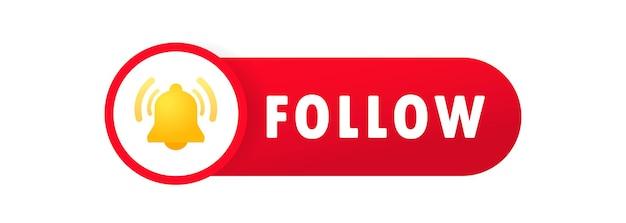フォローボタン。ブログ。影付きフラットスタイルのソーシャルネットワークシンボル。孤立した白い背景の上のベクトル。 eps 10