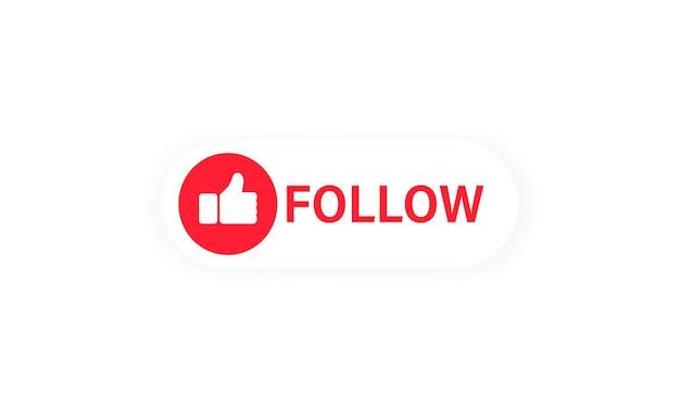 フォローボタン。親指を立てるアイコン。ブログ。影付きフラットスタイルのソーシャルネットワークシンボル。孤立した白い背景の上のベクトル。 eps10。