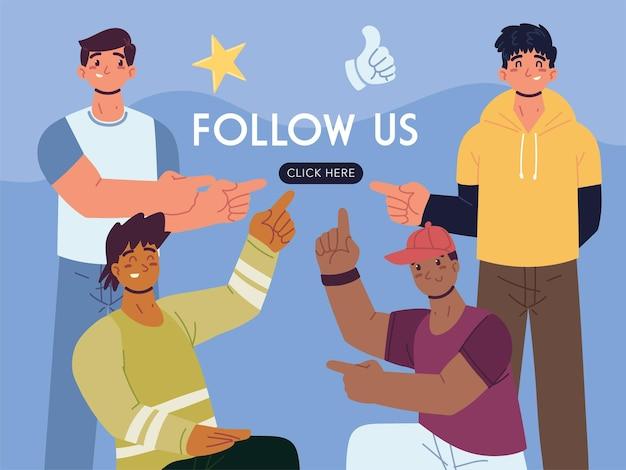 Follow us click button