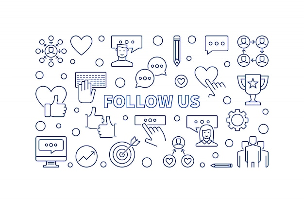 Follow us concept outline icons