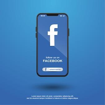 Follow us on facebook social media on mobile