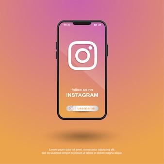 Follow us on instagram social media on mobile Premium Vector
