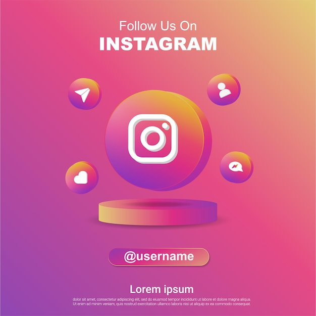 Follow us on instagram social media square banner with 3d logo