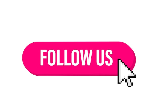 Follow us megaphone banner in 3d style on white