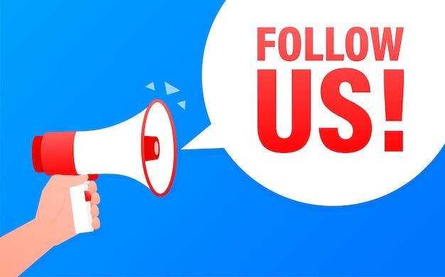 Follow us megaphone blue banner in flat style.