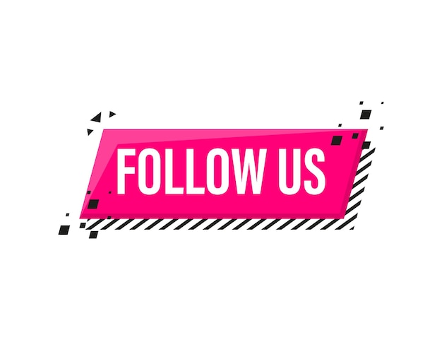 Follow us megaphone pink banner in 3d style on white