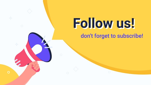 Follow us megaphone yellow bubble announcement. flat vector modern illustration of human hand holds red loud-hailer for community alert or notification to invite new subscribers. promo banners design