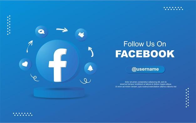 3d 원형 원형 알림 아이콘으로 소셜 미디어를 보려면 facebook에서 우리를 팔로우하십시오.