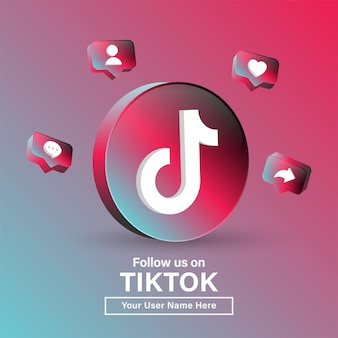 ソーシャルメディアアイコンのモダンサークルのtiktok3dロゴでフォローするか、バナーに参加してください
