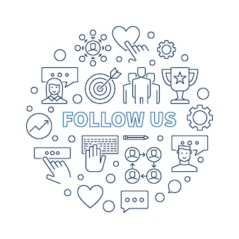 Follow us  round  outline illustration