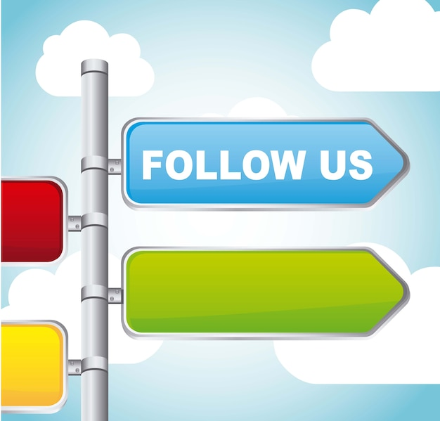 Follow us sign street over sky background