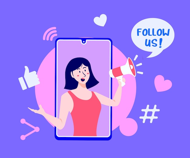Follow us social media with megaphone