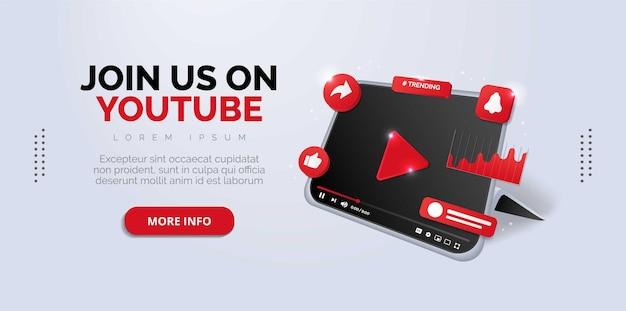 Follow us on youtube social media design premium vector