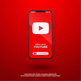 Follow us on youtube social media on mobile Premium Vector
