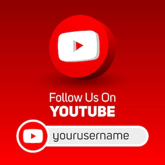 Follow us on youtube social media square banner with 3d logo and username box