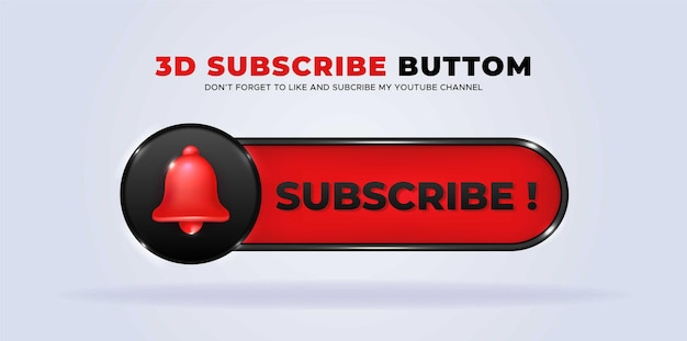 Follow us on youtube social media with 3d subscribe button premium vector