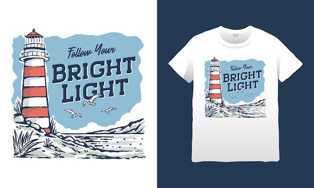 Follow your bright light lighthouse illustraio