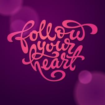진한 보라색 배경에 심장 모양의 심장 타이포그래피를 따르십시오. 배너, 티셔츠, 스케치북 및 노트북 커버에 사용됩니다. 삽화.