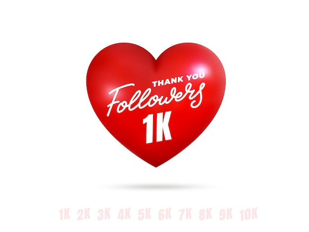 Followers thank you. template for social media celebrate subscribers milestone with glossy heart.