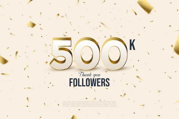 Followers with scattered numbers and gold foil illustrations.
