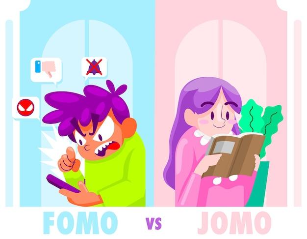 Иллюстрации шаржа fomo и jomo