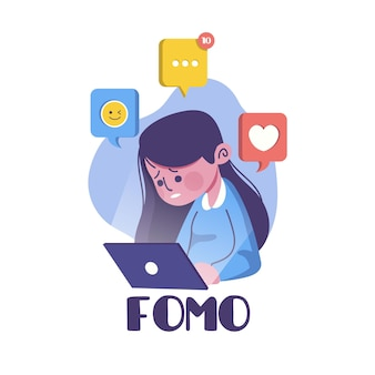 Fomo fear of missing out concept