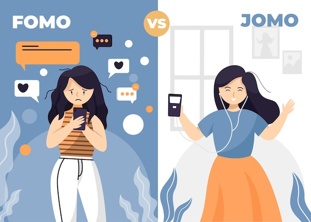 Fomo syndrome and jomo concept illustration
