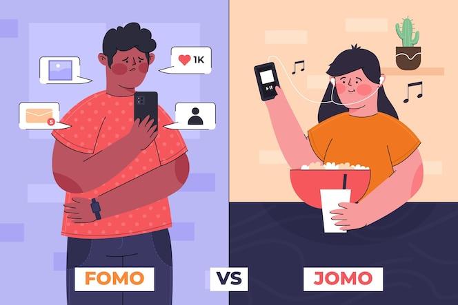 Concetto di fomo vs jomo