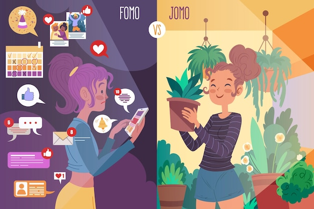 Fomo vs jomo illustrato