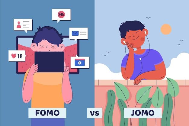 Фомо против концепции иллюстрации джомо