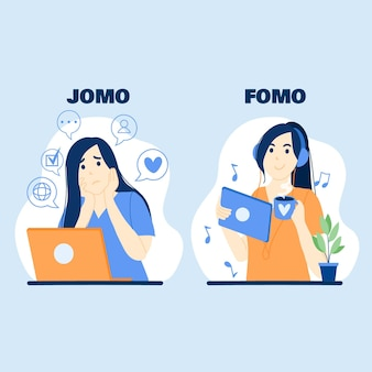 Illustrazione di fomo vs jomo